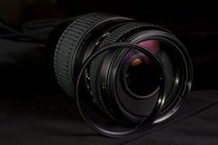 Telephoto obiektywu apertury zakończenie up z ULTRAFIOLETOWYM filtrem Obrazy Stock
