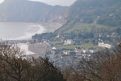 Telephoto shot of Sidmouth from the top of Salcombe Hill. The Jurassic cliffs can be seen in the background royalty free stock photos