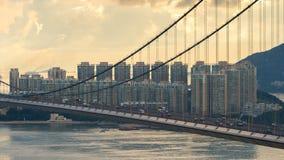 Telephoto shot of Tsing Ma bridge Royalty Free Stock Photos