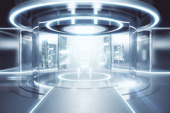 Teleport with business panels. Abstract glowing silver teleportation station with business panels. Future concept. 3D Rendering Royalty Free Stock Photo