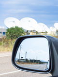 Teleport satellite communications with rearview mirror Royalty Free Stock Photo