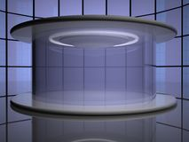 Teleportation capsule. With mirror wall on the back, 3d render, horizontal image Royalty Free Stock Photo