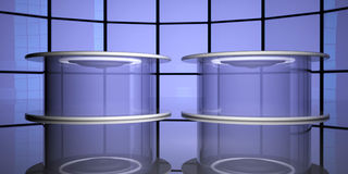 Teleportation capsules, 3d. Teleportation capsules near reflecting glass, 3d render Royalty Free Stock Images