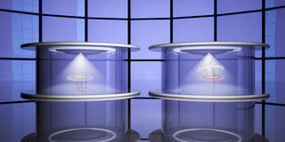 Teleportation capsules, 3d. Teleportation capsules with teleporting puppet, 3d render Royalty Free Stock Photography