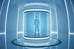 Teleporting businessperson. Back view of businessperson inside abstract teleportation sation. Future technologies concept. 3D Rendering Royalty Free Stock Image