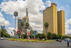 Teleposta står högt i den Nairobi staden, Kenya Fotografering för Bildbyråer