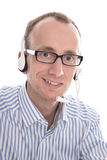 Telesales - το πορτρέτο του χρήσιμου ατόμου με την κάσκα που χαμογελά ήρθε Στοκ εικόνες με δικαίωμα ελεύθερης χρήσης