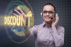 The telesales concept with woman pressing button Stock Image