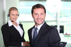 Telesales manager. Stoof by a female colleague Stock Image