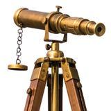 Telescópio de bronze do vintage no fundo branco foto de stock