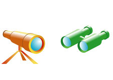 Telescópio e spyglass ilustração stock