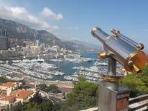Telescópio e vista cênico de Mônaco fotografia de stock royalty free