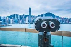 Telescópio a fichas no porto de victoria de Hong Kong Foto de Stock