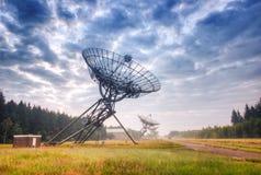 Telescópios de rádio em Westerbork, os Países Baixos Fotografia de Stock