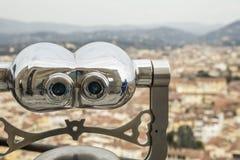 Telescoop om de stad van Florence in Italië waar te nemen Stock Foto