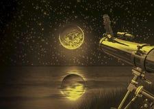 Telescoop op de maan Stock Afbeelding