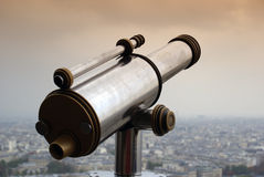 Telescope. Field glass over Paris, from Eiffel Tower Royalty Free Stock Image