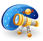 Telescope. Vector illustration of telescope in front of star sky and planet Stock Photography