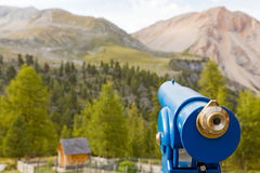 Telescope. Mountain scene through the telescope Royalty Free Stock Images