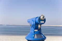 Telescope. Monocle to observe coastal landscape, in Aveiro, Portugal Stock Images