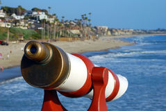 Telescope. Sightseeing telescope for tourists to see whales and the ocean Stock Image
