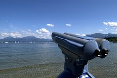 Telescope. For a distant view at the Bavarian Alps royalty free stock photos