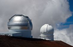 Telescope. Two observatories on summit of Mauna Kea, Hawaii Royalty Free Stock Photography