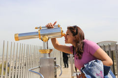 Telescope on Arc de triomphe, Paris Stock Photos