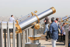 Telescope on Arc de triomphe, Paris Royalty Free Stock Photo