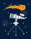Telescope for astronomy science space discovery instrument vector illustration. Sky universe glass magnification equipment. Planetarium observation cosmos look Stock Images