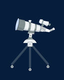 Telescope for astronomy science space discovery instrument vector illustration. Sky universe glass magnification equipment. Planetarium observation cosmos look Royalty Free Stock Photos