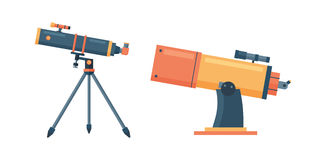 Telescope for astronomy science space discovery instrument vector illustration. Royalty Free Stock Images