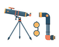 Telescope for astronomy science space discovery instrument vector illustration. Sky universe glass magnification equipment. Planetarium observation cosmos look stock illustration