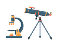 Telescope for astronomy science space discovery instrument vector illustration. Stock Image