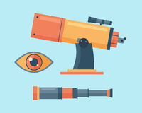 Telescope for astronomy science space discovery instrument vector illustration. Royalty Free Stock Image