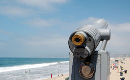 Telescope on beach Stock Image