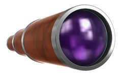 Vintage Telescope isolated on White. Clipping path. Telescope isolated on white background with clipping path in the telescope body and lens area. Add your own stock illustration