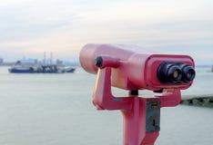 Telescope binocular at seaside Stock Photo