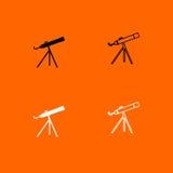 Telescope black and white set icon . stock illustration