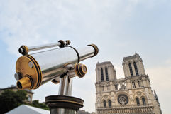 Telescope and Cathedral Stock Photography