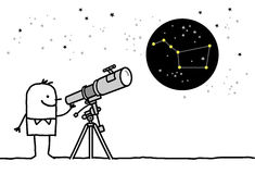 Telescope & constellation royalty free illustration