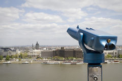 Telescope on danube river, budapest Stock Photos