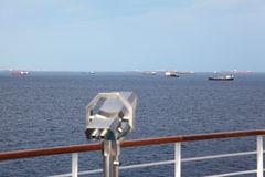 Telescope on deck of cruise ship in out of focus Stock Photography