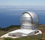 Modern telescope for exploring the cosmos,La Palma, Spain. Observatory at the Roque de Los Muchachos at the island La Palma, which belongs to the Canary Islands Stock Images