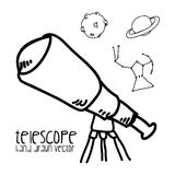Telescope drawn Royalty Free Stock Images