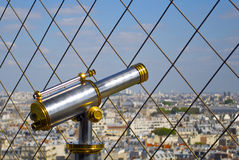 Telescope on the Eiffel Tower Stock Photo
