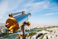 Telescope in the Eiffel Tower Stock Image