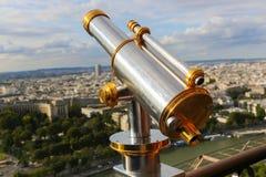 Telescope on Eiffel Tower Stock Photo