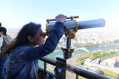 Telescope on Eiffel Tower Royalty Free Stock Image