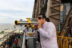 Telescope on Eiffel Tower Royalty Free Stock Photo